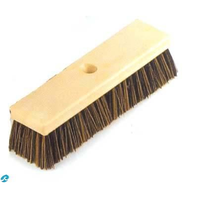 """10"""" Wood Back Brush with Mixed Brown Crimped Bristles"""