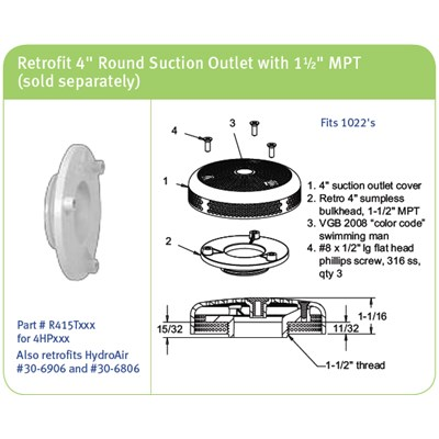 """VGB Adapter Fitting, Suction, 1-7/8"""" HS 1-1/2""""MPT x 11/32""""Thread Length White"""