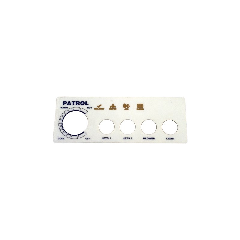 Faceplate Label 4-Button, Patrol Spa Side