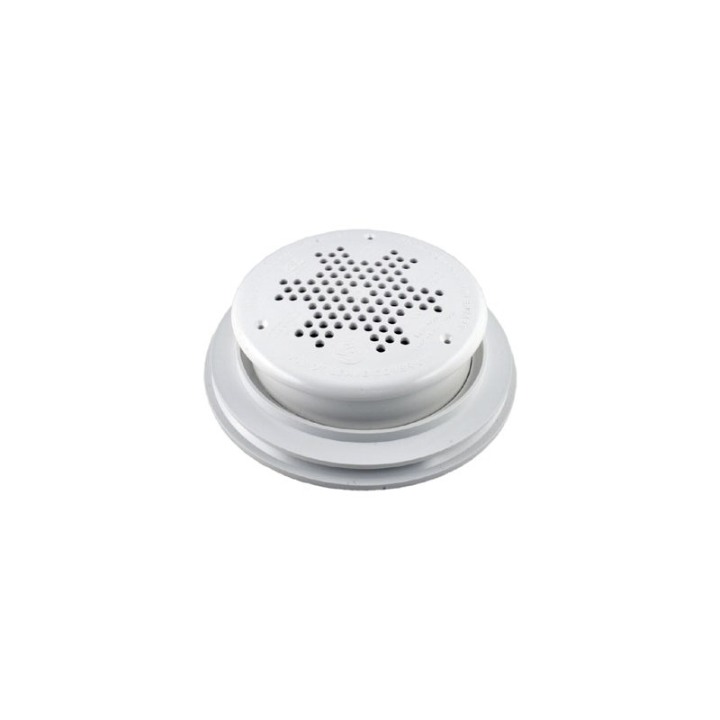 """10"""" Round PDR Main Drain w/Frame,Grate-White"""