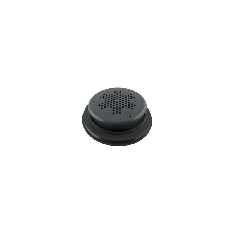 """10"""" Round PDR Main Drain w/Frame,Grate-Gray"""